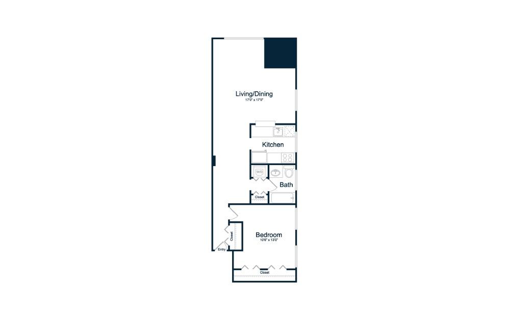 1 bedroom 1 bath 730 sq.ft.