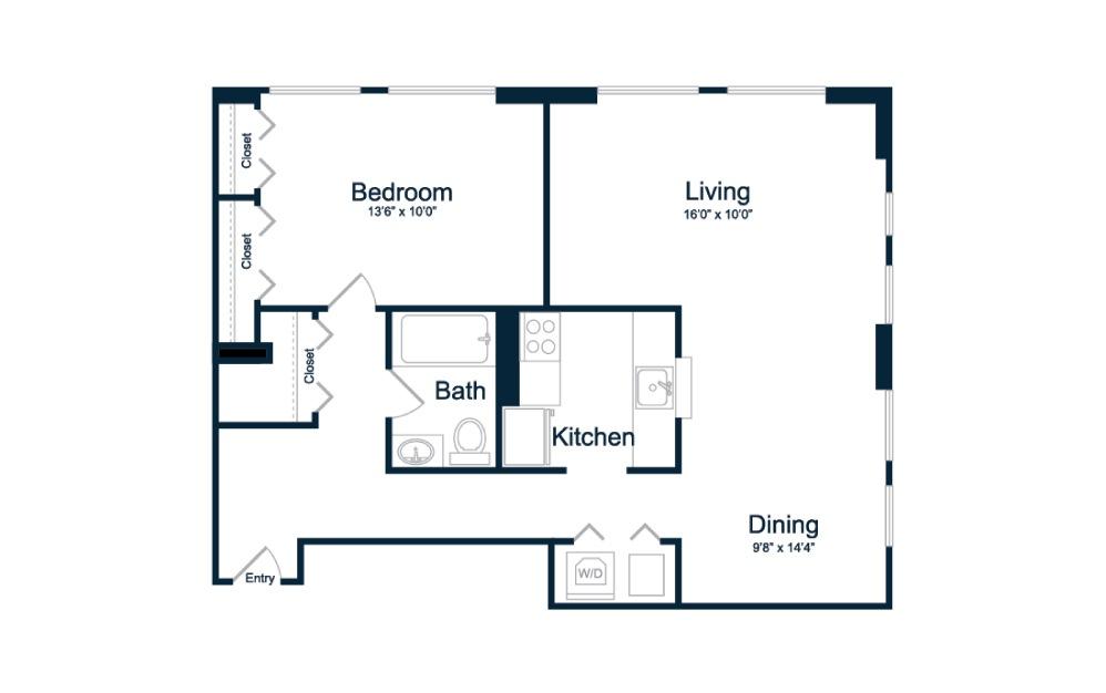 1 bedroom 1 bath 775 sq.ft.