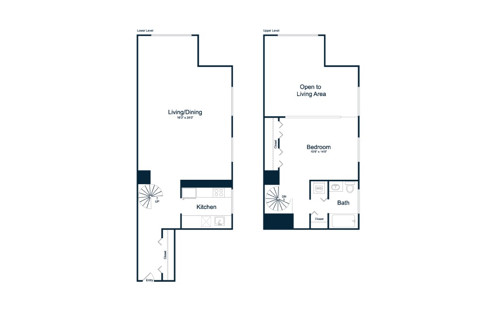 AL1 - 1 bedroom floorplan layout with 1 bath and 877 square feet.