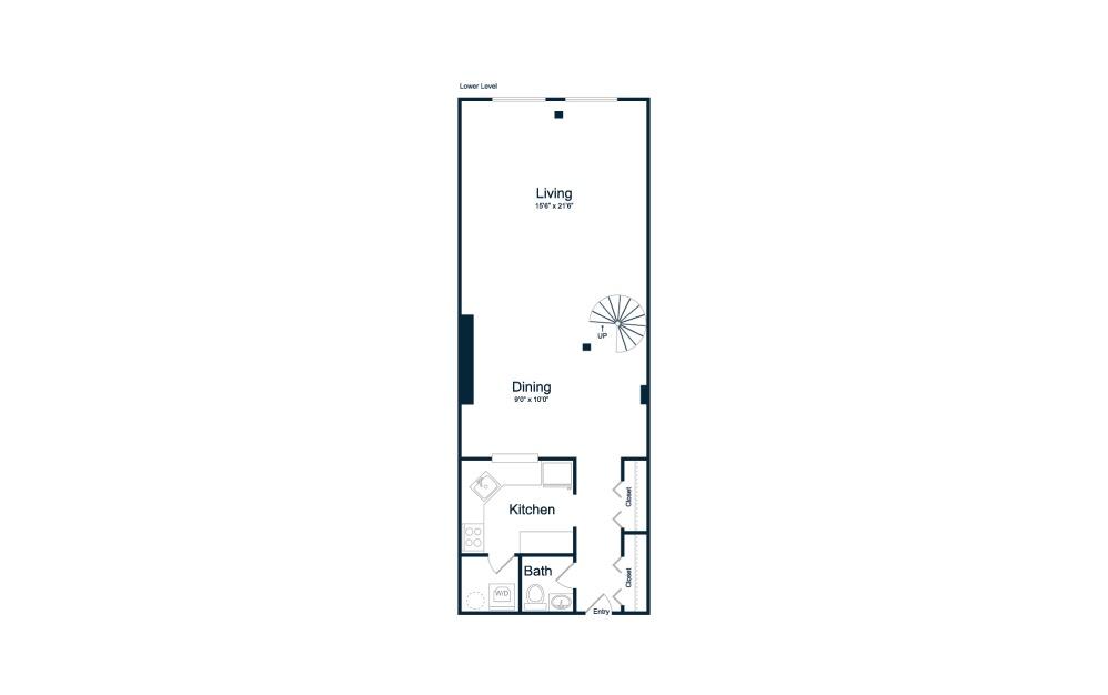 1 bedroom 1 bath 804 sq.ft.