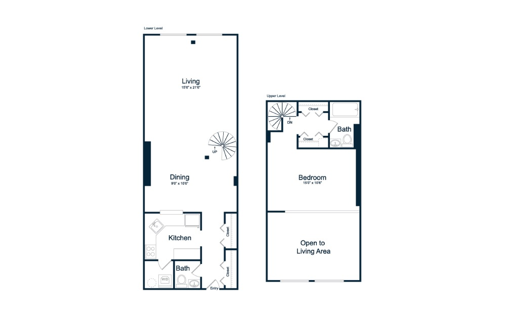 AL2 - 1 bedroom floorplan layout with 1 bath and 985 square feet.