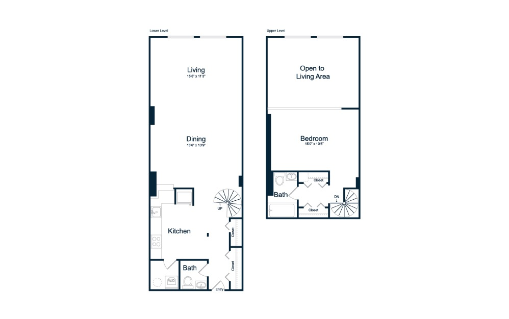 AL3 - 1 bedroom floorplan layout with 1.5 bath and 1000 square feet.