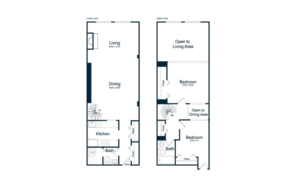 BL1 - 1 bedroom floorplan layout with 1.5 bath and 1150 square feet.