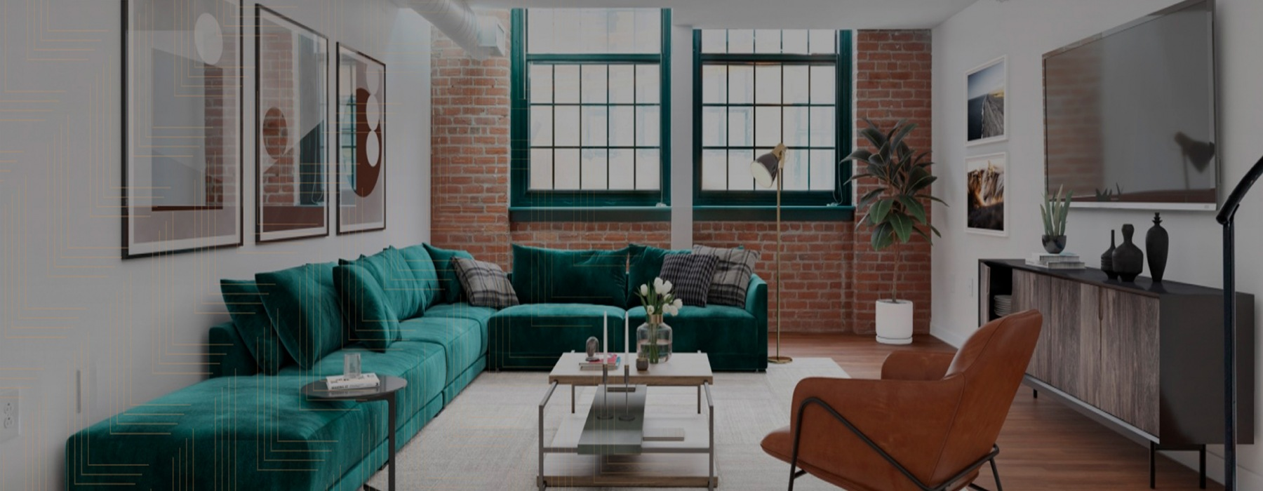 Open loft space with large windows and brick walls
