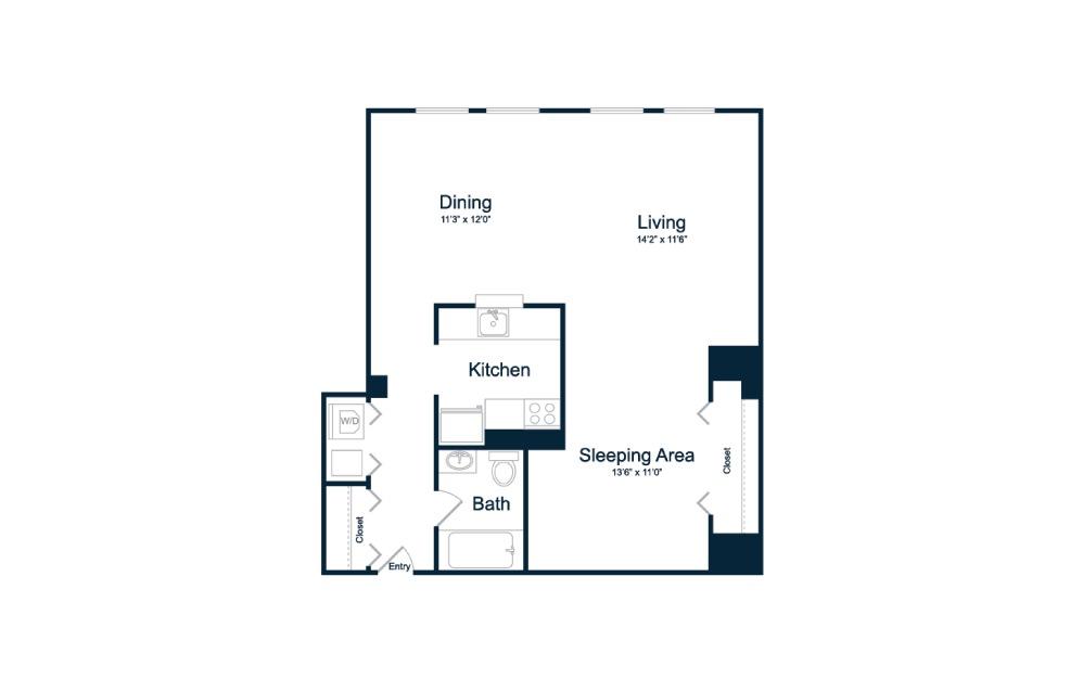 S1 studio, 1 bedroom 1 bath 702 square feet
